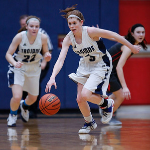 Bailey Steinkamp (3) from Cary-Grove takes the ball cross court after a steal in the fourth quarter of their Class 4A South Elgin Regional game against South Elgin on Tuesday, February 13, 2018 in South Elgin, Illinois. The Trojans defeated the Storm 69-37. John Konstantaras photo for Shaw Media