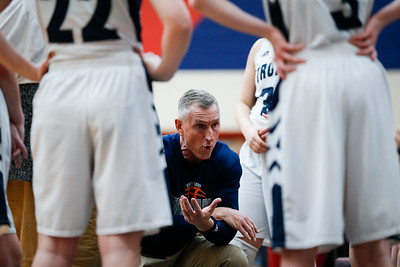 Cary-Grove head coach Rod Saffert talks with his team during a break in the third quarter of their Class 4A South Elgin Regional game against South Elgin on Tuesday, February 13, 2018 in South Elgin, Illinois. The Trojans defeated the Storm 69-37. John Konstantaras photo for Shaw Media