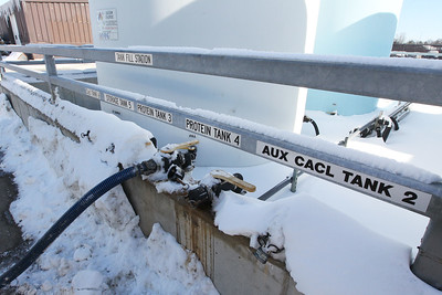 Candace H. Johnson-For Shaw Media The tank fill station identifies the individual liquid tanks containing salt brine, calcium chloride, and protein (a beet derivative) to battle the snow and ice on Lake County roads used at the Lake County Division of Transportation on Winchester Road in Libertyville.(2/12/18)