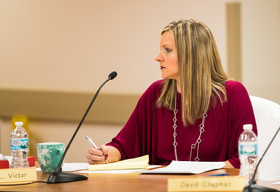 Whitney Rupp for Shaw Media Algonquin Township Board Member Melissa Victor listens to a speaker at the board meeting Wednesday, Feb. 14.
