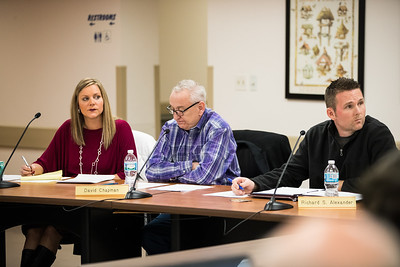 Whitney Rupp for Shaw Media Board members Melissa Victor, left, Dave Chapman, center, and Township Assessor Richard Alexander listen to a public comment during a Feb. 14 board meeting.