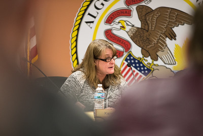 Whitney Rupp for Shaw Media Algonquin Township Clerk Karen Lukasik speaks at the Feb. 14 board meeting.