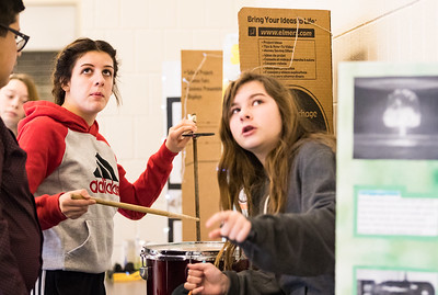 Whitney Rupp for Shaw Media Northwood students Summer Dziewior, 14, left, and Serena Leon, 13, right, interact with a project focused on the properties of radar.