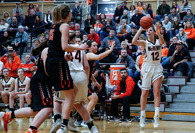 Aannah Interrante (12) from McHenry hits a 3-point-basket late in the fourth quarter during their IHSA Class 4A girls basketball regional championship game against Crystal Lake Central on Thursday, February 15, 2018, in Crystal Lake, Illinois.  The Warriors defeated the Tigers. John Konstantaras photo for Shaw Media