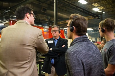 Whitney Rupp for Shaw Media Congressman Randy Hultgren listens to Senior Manufacturing Engineer Jon Crane during a tour of UniCarriers in Marengo Feb. 17. Hulgren accompanied around 30 STEM students from Illinois High Schools to tour the company.