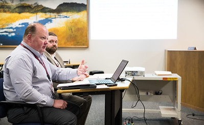 Whitney Rupp for Shaw Media School District 155 Director of Operations Jeff Daurer presents board members with a proposal at a meeting Tuesday, Feb. 13.