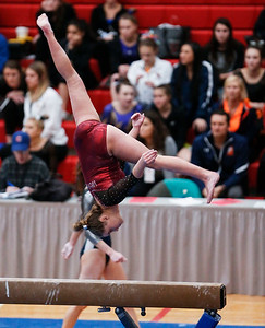 Clancy Raupp from Prairie Ridge competes on uneven bars during the IHSA State Gymnastics Championship on Friday, February 16, 2018, in Palatine, Illinois. John Konstantaras photo for Shaw Media