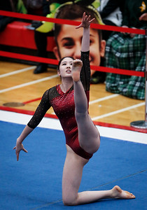 Maddie Kim from Prairie Ridge competes on Floor Exercise during the IHSA State Gymnastics Championship on Friday, February 16, 2018, in Palatine, Illinois. John Konstantaras photo for Shaw Media