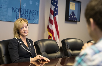 Whitney Rupp for Shaw Media Governor candidate Jeanne Ives is interviewed by the editorial board of the Northwest Herald Monday, Feb. 19.