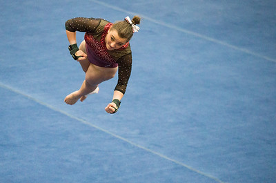 Whitney Rupp for Shaw Media Kira Karlblom of Prairie Ridge performs in the floor exercise event final at the IHSA State Championships in Palatine Saturday, Feb. 17.
