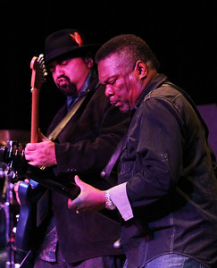 Candace H. Johnson-For Shaw Media Wayne Baker Brooks and Kenny Kinsey play the blues with the Wayne Baker Brooks band during the Blues Double Bill concert at the Round Lake Beach Cultural & Civic Center.(2/17/18)