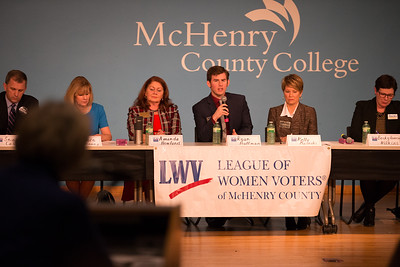 Whitney Rupp for Shaw Media Candidates for the 6th Congressional District speak at a forum for the League of Women Voters of McHenry County at McHenry County College Monday, Feb. 19.