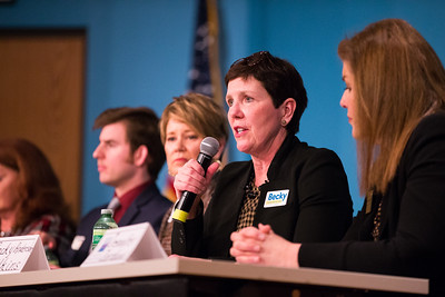 Whitney Rupp for Shaw Media Candidate for Congressional District 6 Becky Anderson WIlkins  speaks at McHenry County College Monday, Feb. 19.