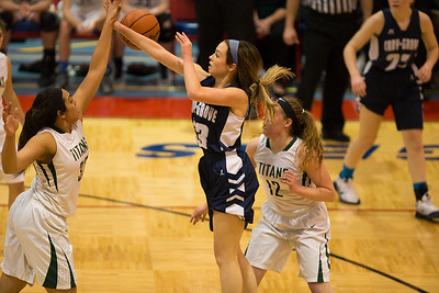 Whitney Rupp for Shaw Media Allison Raupp of Cary-Grove takes a shot that is blocked by Boylan's Peyton Kennedy at a sectional matchup Tuesday, Feb. 20. rr