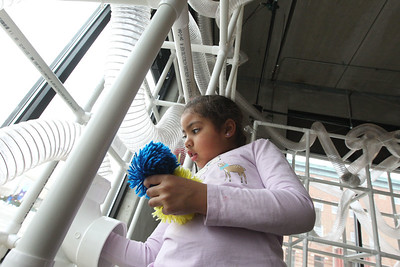 Candace H. Johnson-For Shaw Media Jelitza Esquival-Hixon, 6, of Winthrop Harbor puts pom poms in the AirMazing Station at the Kohl Children's Pop-Up Museum in Waukegan.(2/17/18)