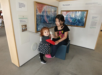 Candace H. Johnson-For Shaw Media Melanie Manqueros, 1, of Waukegan and her sister, Leilani, 7, learn about art in the Chagall for Children traveling exhibit at the Kohl Children's Pop-Up Museum at 220 W. Clayton Street in Waukegan.(2/17/18)