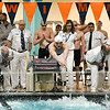 St. Charles East's 200-yard medley relay competitors enter the water duirng the IHSA boys swimming state finals on Feb. 24.