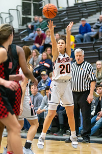 McHenry's Ava Interrante takes a three-point shot against Huntley Monday, February 4, 2019 in McHenry. McHenry went on to win their 20th game of the year 36-25. KKoontz – For Shaw Media
