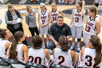 McHenry girls' basketball Head Coach, Rob Niemic talks to his team during a timeout in the fourth quarter against Huntley Monday, February 4, 2019 in McHenry. McHenry took the victory 36-25. KKoontz – For Shaw Media