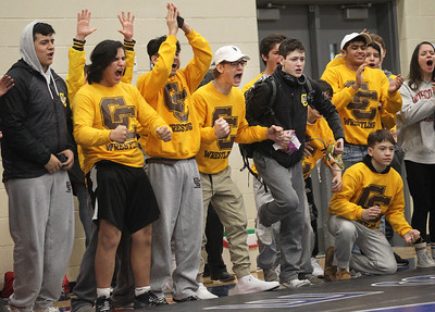 Candace H. Johnson-For Shaw Media Carmel wrestlers cheer on their teammate, Christian Valadez, as he beats North Chicago's Jeremiah Duty 4-2 in overtime to come in first place during the Class 2A Individual Regional Finals at Lakes Community High School in Lake Villa.