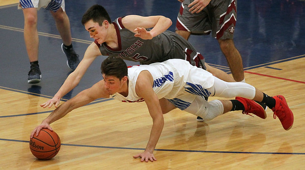 Candace H. Johnson-For Shaw Media Antioch's Gavin Eldridge (#5) and Lakes Brad Cherry both go down as they scramble for a loose ball in the fourth quarter at Lakes Community High School in Lake Villa. Lakes won 57-41. (2/12/19)