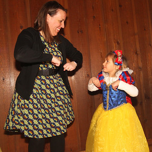 "Candace H. Johnson-For Shaw Media Kathy Delzotti, of Gurnee and her daughter, Abby, 4, dance to the ""Chicken Dance"" song during a magical Enchanted Evening at the Viking Park Dance Hall in Gurnee. The event was sponsored by the Gurnee Park District. (2/9/19)"