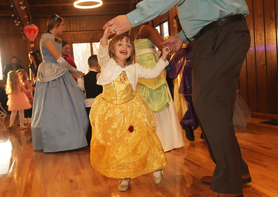 Candace H. Johnson-For Shaw Media Kit Sostak, 4, of Vernon Hills dances with her father, Charlie, during a magical Enchanted Evening at the Viking Park Dance Hall in Gurnee. The event was sponsored by the Gurnee Park District. (2/9/19)