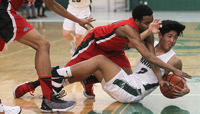 Candace H. Johnson-For Shaw Media Grant's M.J. Smith and Grayslake Central's Dillan Dumanlang scramble for a loose ball in the third quarter at Grayslake Central High School. Grant won the Northern Lake County Conference title (NLCC) by beating Grayslake Central 50-41. (2/19/19)