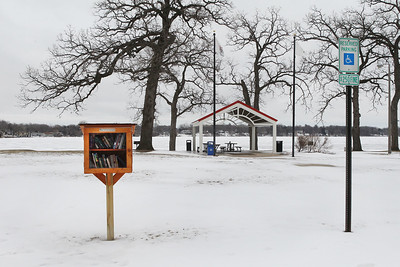 Candace H. Johnson-For Shaw Media A Little Free Library stands at Lakefront Park in Round Lake Beach made by Dante Rivera, 17, of Round Lake, with Boy Scout Troop 275, for an Eagle Scout project. Dante made six Little Free Libraries and distributed them throughout Round Lake Beach. (2/16/19)