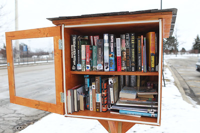 Candace H. Johnson-For Shaw Media A Little Free Library that stands at the Round Lake Beach Metra train station off of Hook Drive was made by Dante Rivera, 17, of Round Lake with Boy Scout Troop 275 for an Eagle Scout project. Dante made six Little Free Libraries and distributed them throughout Round Lake Beach. Fifty books were put into each library. (2/16/19)