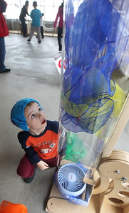 Candace H. Johnson-For Shaw Media Micah Thebarge, 6, of Waukegan plays with an air tube in the AirMazing Station at the Kohl Children's Museum pop-up museum at the Urban Edge storefront gallery on Clayton Street in downtown Waukegan. The pop-up museum will be open until March 23rd. (2/16/19)