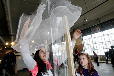 Candace H. Johnson-For Shaw Media Maritza Escamilla, 10, and Brooklyn Smith, 8, both 2018 Waukegan queens, play with air tubes in the AirMazing Station at the Kohl Children's Museum pop-up museum at the Urban Edge storefront gallery on Clayton Street in downtown Waukegan. The pop-up museum will be open until March 23rd. (2/16/19)