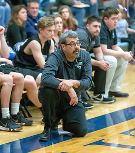 Woodstock North head basketball Coach Dale Jandron watches his team against Burlington Central Friday, February 22, 2019 in Burlington. Burlington Central went on to win the game 58-43 and win the Kishwaukee River Conference outright. KKoontz – For Shaw Media