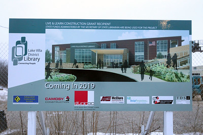 Candace H. Johnson-For Shaw Media A picture of the new Lake Villa District Library stands at the construction site on Munn Road in Lindenhurst. The Lake Villa District Library currently has 30,000 sq.ft. and the new building will have 66,000 sq.ft.(2/25/19)