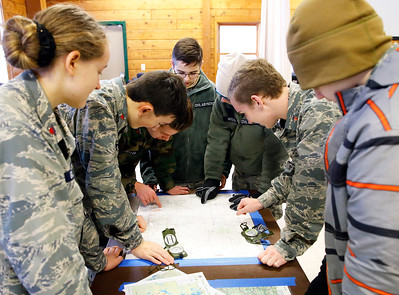 Cadet members of the Civil Air Patrol (CAP) go over table-top search and rescue techniques in preparation of the CAP Ice Bowl 2020, a cold-weather search and rescue training exercise held by the Illinois Wing of the CAP on Saturday, February 1, 2020 in Gilberts, IL.