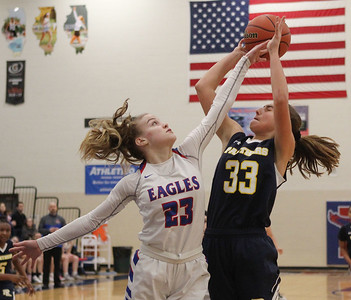 Candace H. Johnson-For Shaw Media Lakes Rosemary Tekampe tries to block a shot by Round Lake's Lilli Burton in the third quarter at Lakes Community High School in Lake Villa. Round Lake won 42-37.  (2/1/20)