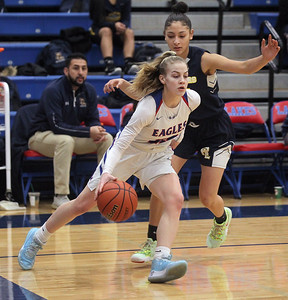 Candace H. Johnson-For Shaw Media Lakes Rosemary Tekampe drives around Round Lake's Karla Marin in the first quarter at Lakes Community High School in Lake Villa. Round Lake won 42-37.  (2/1/20)