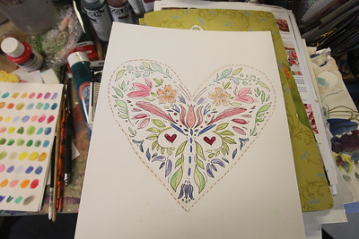 Candace H. Johnson-For Shaw Media A folk art heart project using watercolor and ink can be made for Valentine's Day at the Periwinkle Art Studio in Lake Villa on Friday, February 7th : Folk Art Hearts/Valentine Greetings at 6:30 pm. and on February 8-9th: Valentine DIY Weekend. (2/1/20)
