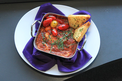 Candace H. Johnson-For Shaw Media Baked goat cheese and dark chocolate marinara is featured as an appetizer that will be served on Valentine's Day at The Chocolate Sanctuary Restaurant in Gurnee. (2/11/20)
