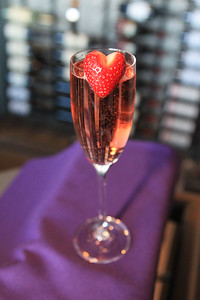 Candace H. Johnson-For Shaw Media A Heartbreaker Spritzer with a fresh strawberry is one of the drinks featured for Valentine's Day at The Chocolate Sanctuary Restaurant in Gurnee. (2/11/20)