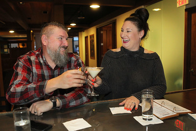 Candace H. Johnson-For Shaw Media Brian and Natalie Morris, both of Mundelein enjoy their drinks in the Tasting Room at North Shore Distillery in Green Oaks. (2/8/20)
