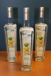 Candace H. Johnson-For Shaw Media Sol Chamomile Citrus Vodka, infused and distilled with citrus fruits and chamomile blossoms, is sold in the gift store at the North Shore Distillery in Green Oaks. (2/8/20)