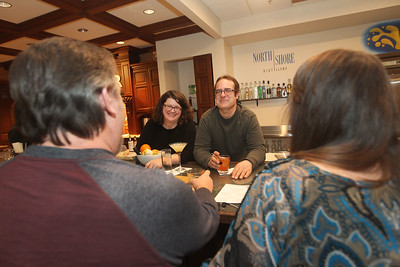 Candace H. Johnson-For Shaw Media Sonja and Derek Kassebaum, co-owners, talk with Rick Helgren and Mary Witte, all of Gurnee as they enjoy their drinks at North Shore Distillery in Green Oaks. (2/8/20)