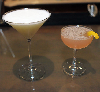 Candace H. Johnson-For Shaw Media Drinks called a Pink Lady and a New Orleans Fizz were made at the bar in the Tasting Room at North Shore Distillery in Green Oaks. (2/8/20)