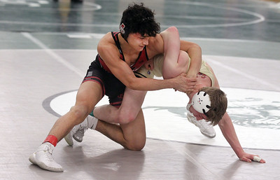 Candace H. Johnson-For Shaw Media Antioch's Elijah Reyes battles for control with Grayslake North's Nick Kozanecki in the 138 lb. weight class during the Class 2A Wrestling Regional Finals at Grayslake Central High School. Antioch's Reyes won 6-3 to take first place.(2/8/20)