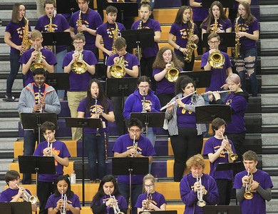 Candace H. Johnson-For Shaw Media The Wauconda High School Pep Band plays there music during the boys varsity basketball game against North Chicago at Wauconda High School. Wauconda won 67-58. (2/18/20)