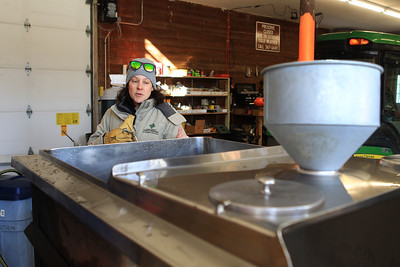 Candace H. Johnson-For Shaw Media Jen Berlinghof, environmental educator, talks about a stainless steel tank called, an evaporator, which cooks the sap from a sugar maple tree and turns it into maple syrup during the Lake County Forest Preserves behind-the-scenes tour of the Maple Syrup Hikes at the Ryerson Conservation Area in Riverwoods. It takes forty gallons of sap to make one gallon of maple syrup. (2/19/20)