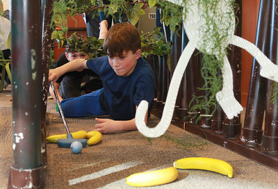 Candace H. Johnson-For Shaw Media Sean Cafferkey, 9, of Grayslake gets down low with Wyatt Pruitt, 9, of Round Lake Beach as they play mini golf during the Grayslake Library Foundation's 9th Annual MiniGolf Fundraiser at the Grayslake Area Public Library. (2/22/20)