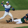 Sarah Nader - snader@shawmedia.com<br /> St. Charles North's Zach Mettetal (left) throws to first while New Trier's Michael Hurley is out at second during the third inning of Monday's Class 4A Boomers Stadium Supersectional at Boomers Stadium in Schaumburg June 5, 2016. St. Charles North defeated New Trier, 4-3.