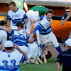 Sarah Nader - snader@shawmedia.com<br /> The St. Charles North baseball team celebrates after winning Monday's Class 4A Boomers Stadium Supersectional against New Trier at Boomers Stadium June 5, 2016. St. Charles North defeated New Trier, 4-3.